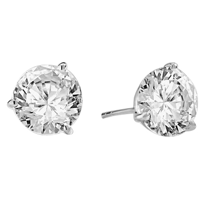 Pair of Studs in three prongs Martini Setting, Round Diamond Essence in each stud. 4.0 Cts T.W. set in 14K Solid White Gold.
