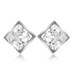 classic princess-cut square studs Platinum Plated
