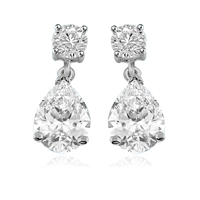 Pear cut and round stone white gold drop earrings