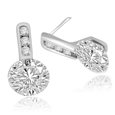 Tension set round stones 14K Solid White Gold earrings