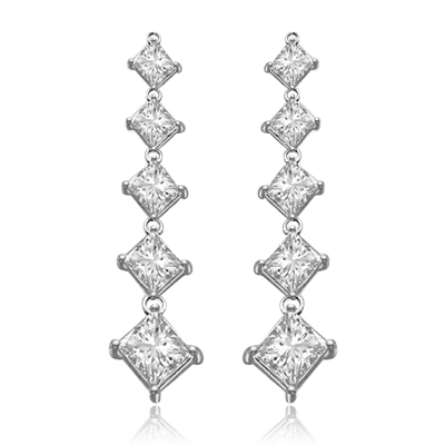 5 princess cut square Stone white  gold drop earring