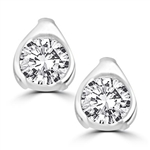 Round stone solid white gold stud earrings