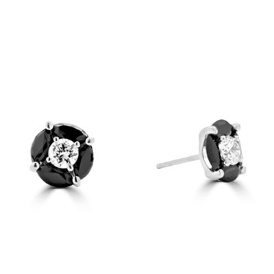 14K White Gold black onyx & round stone earrings.