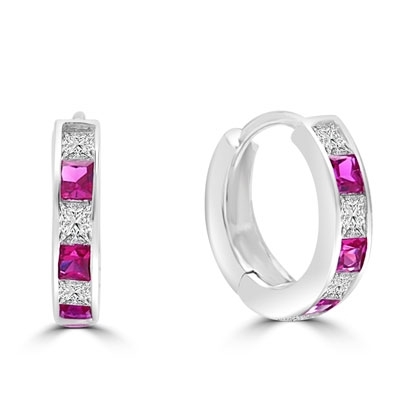 14K White Gold hoop earring with ruby essence diamond.