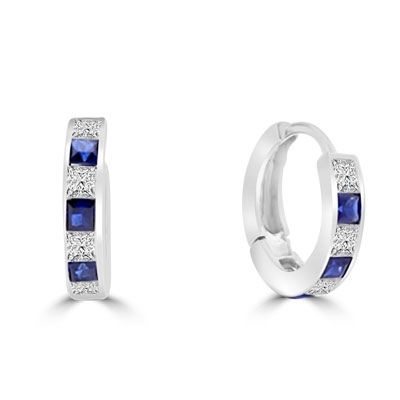 14K Solid Gold hoop Earring with alternate Diamond Essence and Sapphire Essence princess cut stones.
