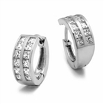 14K White Gold Huggies With Two Row Of Channel Set Princess Cut Diamond Essence Stone, 1.40 Cts.T.W.