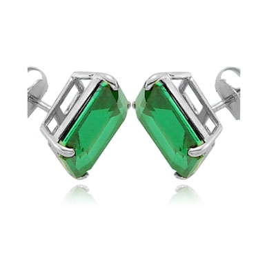 14K Solid White Gold emerald studs earrings
