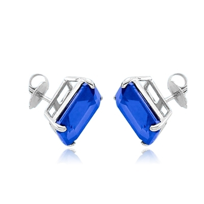 White Gold sapphire studs earrings