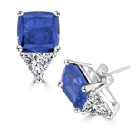 White gold earring in cushion cut sapphire stone