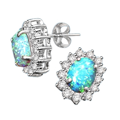 Diamond Essence Designer Stud Earrings With Oval Cut Opal Stones And Brilliant Melee 3 0 Cts T W Wed5377