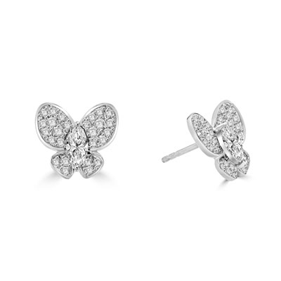 Whitegold butterfly earring with marquise cut
