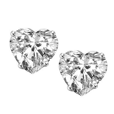 Diamond Essence Stud Earrings With Heart Shape Stones Wed560