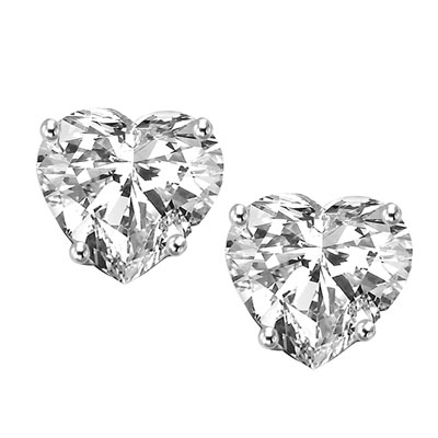 1 carat heart stud earrings in solid white gold