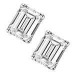 1 ct Emerald Studs earrings in solid white gold