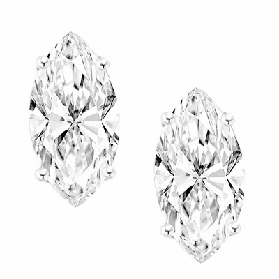 0.5ct marquise  Studs in 14K Solid White Gold