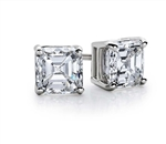 Prong Set Stud Earrings with Artificial Asscher Cut Diamond by Diamond Essence set in 14K White Gold 6 Cts.t.w.