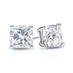 Prong Set Stud Earrings with Simulated Cushion Cut Diamond by Diamond Essence set in White Gold 6 Cts.t.w.