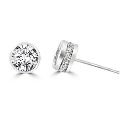 Traditional studs with a twist on the bezel set that shows small accents sideways too! Confess it...you always wanted this! 2.20 Cts. T.W. in 14k Solid White Gold.
