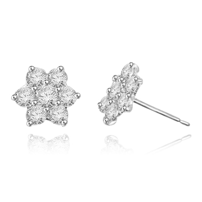 Perfect Holiday and Mother's Day Gift. Traditional flower set Earring. 3.0 Cts.T.W. in 14k Solid White Gold.