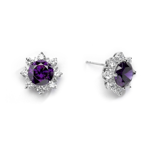 Designer Earrings with Round Amethyst Essence in center Surrounded by Round Brilliant Diamond Essence and Melee. 9.0 Cts. T.W. set in 14K solid White Gold.