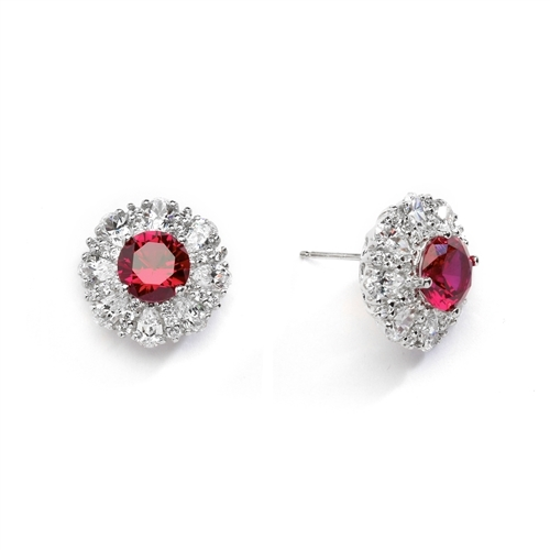 Diamond and Ruby Earring - 2.0 cts. Round Ruby Essence in Center surrounded by Pear Cut Diamond Essence and Melee. 5.5 Cts. T.W. set in 14K Solid White Gold.