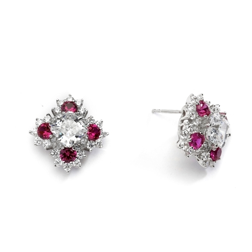 Designer Earrings with Asscher cut Diamond Essence in center surrounded by Floral Designs created with Round Ruby Essence and Melee. 6.0 Cts. T.W. set in 14K Solid White Gold.