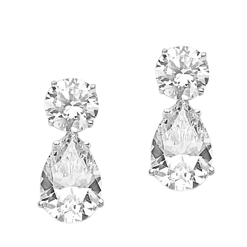 Best Selling Tear Drop Diamond Essence Earrings - White Brilliant Round Stone is 2 Ct and White Brilliant Pear Stone is 5 Ct. A Brilliant Sparkle of 14 Cts. T.W. for the pair of earrings! In 14K Solid White Gold.