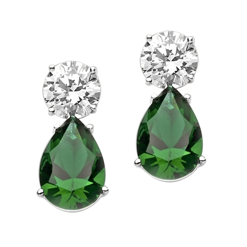 Best Selling Tear Drop Diamond Essence Earrings - White Brilliant Round Stone is 2 Ct and Emerald Pear Stone is 5 Ct. A Brilliant Sparkle of 14 Cts. T.W. for the pair of earrings! In 14k Solid White Gold.