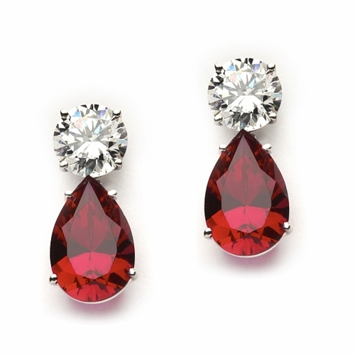 ​Best Selling Tear Drop Diamond Essence Earrings - White Brilliant Round Stone is 2 Ct and Ruby Essence Pear Stone is 5 Ct. A Brilliant Sparkle of 14 Cts. T.W. for the pair of earrings! In 14k Solid White Gold.