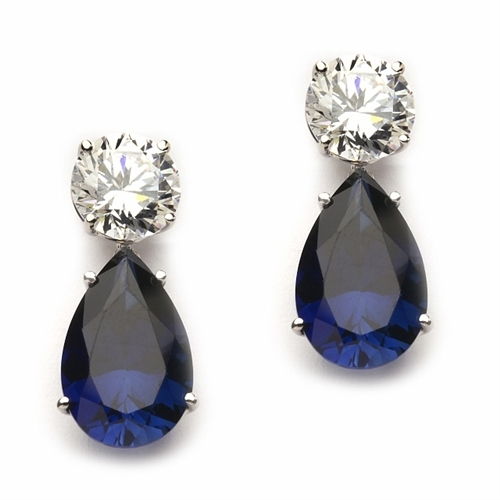 Diamond Essence Earrings, 5.0 Cts. each Pear cut Sapphire Essence dropping off from 2.0 Cts. each Round Diamond Essence Studs, 14.0 Cts. T.W. set in 14K Solid White Gold.