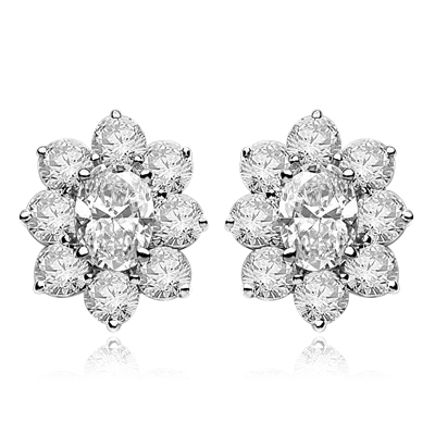 Flower Cluster - Each Earring with 1.0 Cts. Oval Center surrounded by Round Diamond Essence, 4.0 Cts. T.W. set in 14k  Solid White Gold.