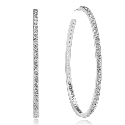 Sparkling Circle - 1.75 '' Extra large hoop earrings, Diamond Essence round melee set in 14K Solid White Gold. 1.50 Cts. T. W.