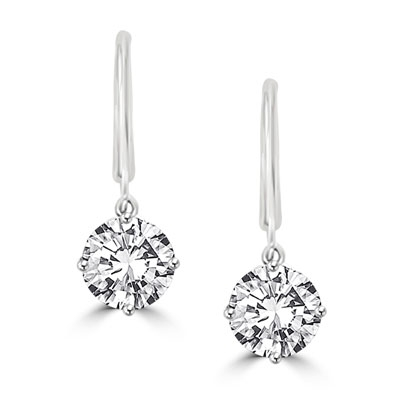 Round Cut Leverback Earrings. 4.0 Cts. T.W. set in 14K Solid White Gold.