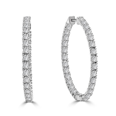 In And Out Hop Earrings With Round Brilliant Diamond Essence Stones 3 25 Cts