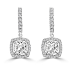 Diamond Essence Leverback Earrings with 1.0 ct. Cushion cut Round Brilliant Melee, 2.50 cts.t.w. in 14K White Gold.