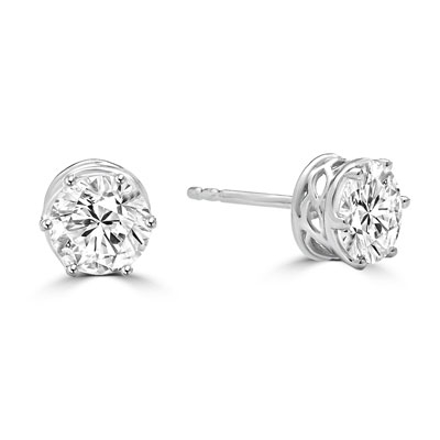 Basket Set Stud Earrings with Artificial Round Diamond by Diamond Essence set in 14K White Gold