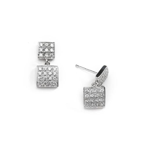 Square double dangle earrings set with round accents on both drops. 1.5 Cts. T.W. set in 14k Solid White Gold.
