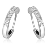 Hoop Earrings set in 14K Solid White Gold