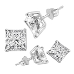 Square cut stone white gold earrings