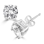 Prong Set Simulated Round Brilliant Stud Earrings in white gold