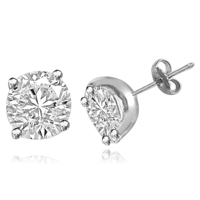 Solid white gold round brilliant studs earrings