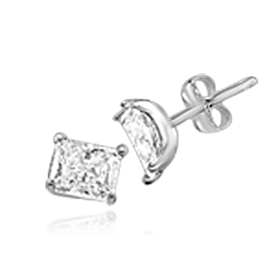 Radiant Emerald cut Diamond Essence studs cradled in 14K Solid white Gold, 3.0 cts. t.w.