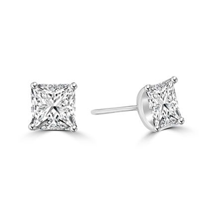 Princess cut Diamond Essence studs cradled in 14K Solid white Gold, 3.0 cts. t.w.