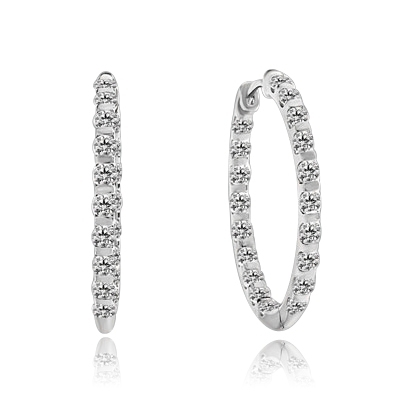 Inside Out Hoop Earring displaying an exquisitely channel press set array of Diamond Essence Melee Glittering at 2 Cts. T.W. set in 14K Solid White Gold.
