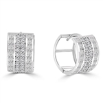 Diamond Essence 14K Solid White Gold Huggies, with Four Rows of Princess and Round Melee, 3.0 Cts.T.W.