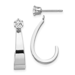 14k White Gold J Hoop with Diamond Essence Stud Earring Jackets, 0.80 cts.t.w.