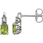 Prong Set Designer Earrings with Peridot Diamond with Round Brilliance on Top by Diamond Essence Set in 14K Solid White Gold