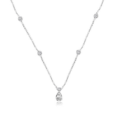 Diamond Essence Necklace with Pear and Round Brilliant Stones, 4.25 cts.t.w. -  WND1105
