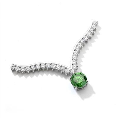 Supreme Necklace that is sure shot eye candy! 2.0 Cts. Round Emerald Essence Dangler atones a curvy melee of Round Brilliants set exquisitely in an Art Deco Setting! 3.50 Cts.T.W. attached with Chain in 14K Solid White Gold.