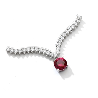 Top of the world - Supreme Necklace that is sure shot eye candy! 2 Ct. Brilliant White Ruby Essence Round Dangler atones a curvy melee of Round Brilliants set exquisitely in an Art Deco Setting! Attached with Chain in 14k Solid White Gold.